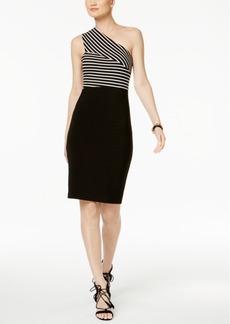 Guess One-Shoulder Striped Sheath Dress