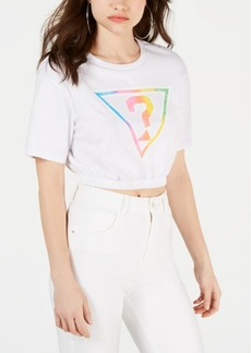 Guess Originals Cotton Cropped Rainbow Logo T-Shirt