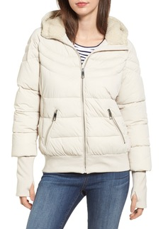 GUESS Oversize Hooded Puffer Jacket with Knit & Faux Shearling Trim