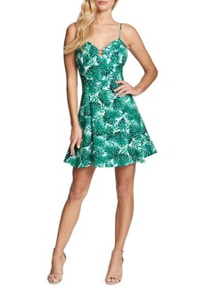 Guess Palm Leaf Fit-&-Flare Dress