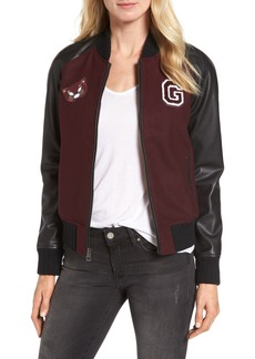 GUESS Patch Detail Mixed Media Bomber Jacket