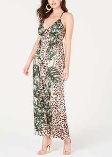 Guess Paula Mixed-Print Maxi Dress