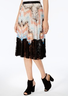 Guess Paulina Pleated Lace-Hem Skirt