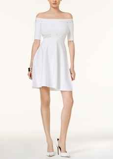 Guess Perforated Off-The-Shoulder Dress