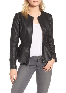 GUESS Perforated Peplum Hem Faux Leather Jacket