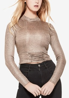 Guess Perry Rib-Knit Lace-Up Crop Top