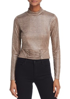 GUESS Perry Ribbed Lace-Up Cropped Top
