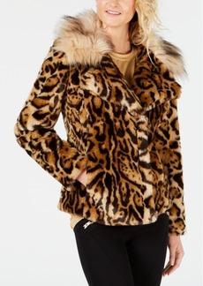 Guess Phoebe Faux-Fur Leopard-Print Jacket
