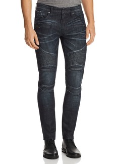 GUESS Pintuck Slim Fit Moto Jeans in Dark Blue