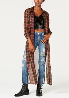 Guess Plaid Slit-Side Tunic Shirt