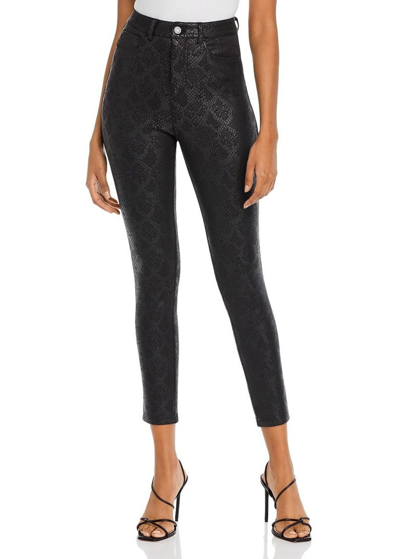 GUESS Poison Python-Print Coated Skinny Pants
