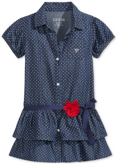 Guess' Polka-Dot Drop-Waist Denim Dress, Toddler & Little Girls (2T-6X)