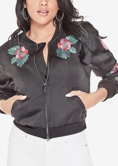 Guess Pranne Embroidered Satin Bomber Jacket