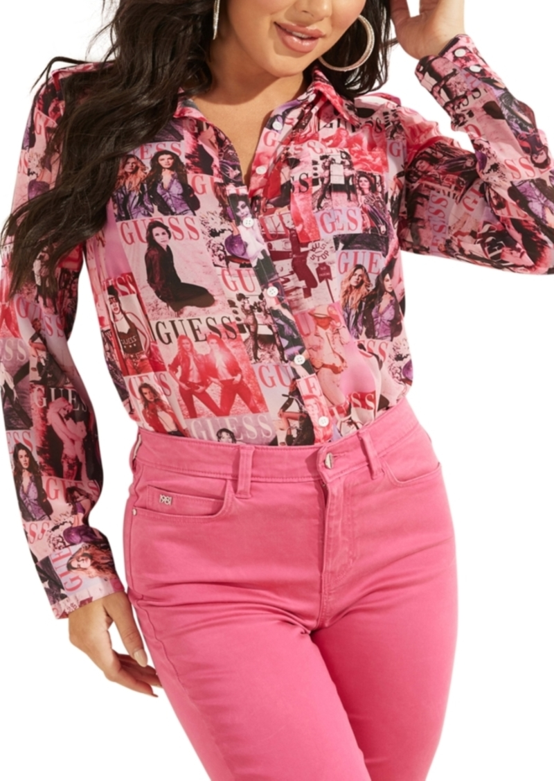Guess Printed Button-Up Blouse