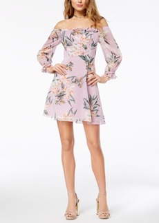 Guess Printed Off-The-Shoulder Dress