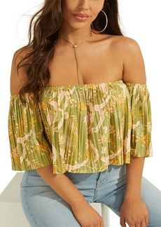 Guess Printed Pleated Crop Top