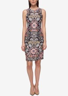 Guess Printed Shadow-Stripe Sheath Dress
