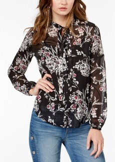 Guess Printed Tie-Neck Blouse
