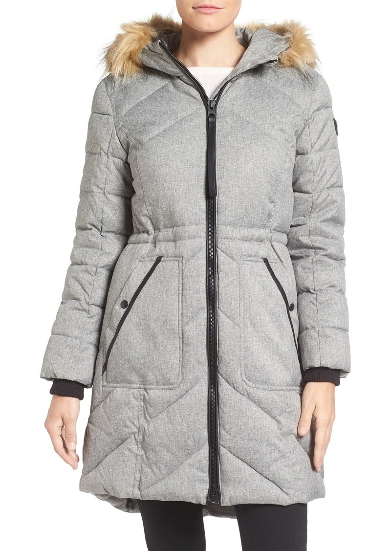 GUESS Quilted Anorak with Faux Fur Trim