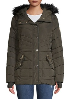 Guess Quilted Faux Fur Hooded Jacket