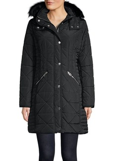 Guess Quilted Faux Fur-Trimmed Hooded Puffer Jacket