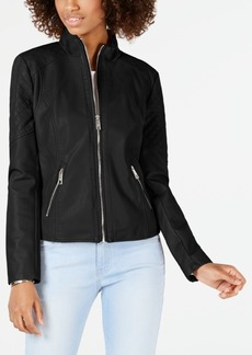 Guess Quilted Faux-Leather Moto Jacket