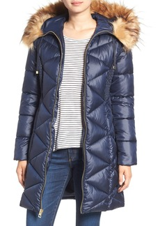 GUESS Quilted Puffer Coat with Faux Fur Trim