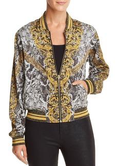GUESS Rae Baroque Snake Print Bomber Jacket