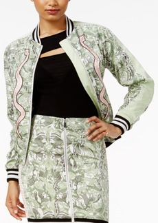 Guess Reese Snake-Print Bomber Jacket