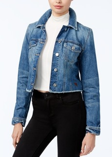 Guess Reworked Raw-Hem Denim Jacket