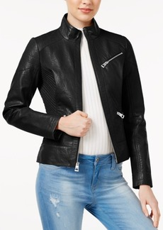 Guess Ribbed Faux-Leather Jacket