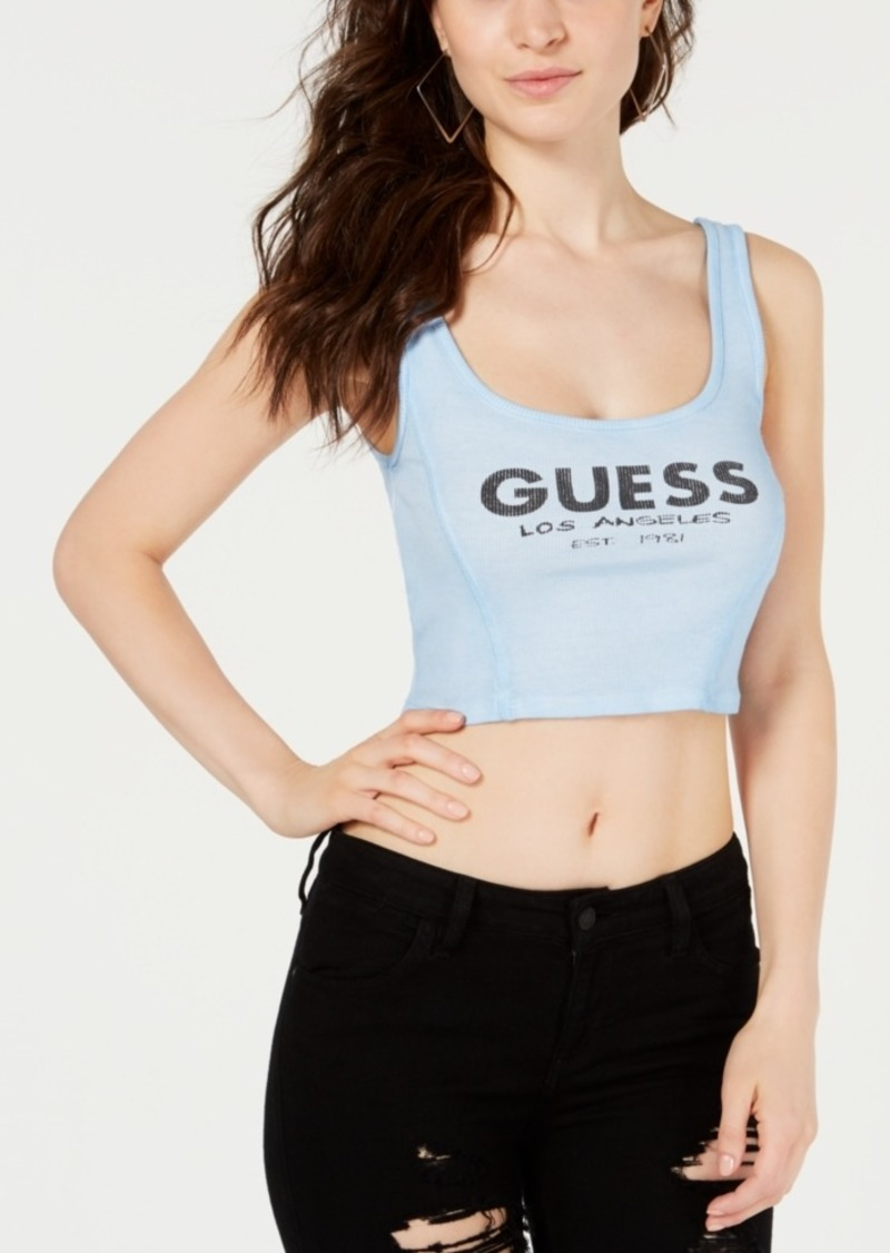 Guess Ribbed Graphic Crop Top