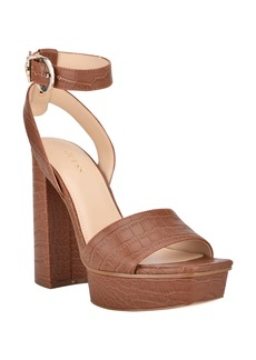 GUESS Rippa Snakeskin Embossed Block Heel Sandal (Women)
