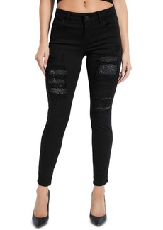 Guess Ripped Rhinestone-Embellished Skinny Jeans
