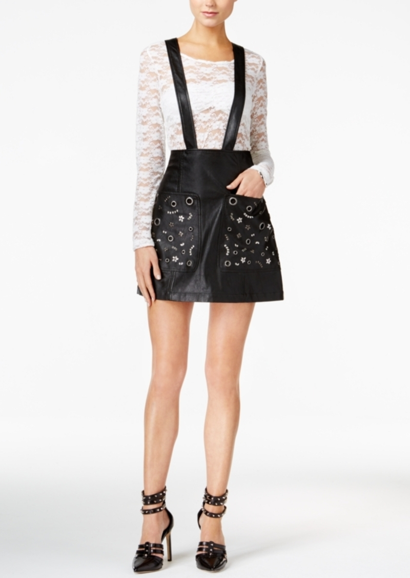 Guess Rona Faux-Leather Suspender Skirt