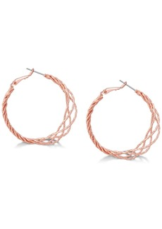 "Guess Rose Gold-Tone 1 1/2"" Twisted Lattice Hoop Earrings"