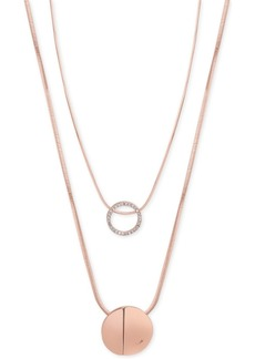 Guess Rose Gold-Tone 2-Pc. Set Pave Pendant Necklaces