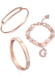 Guess Rose Gold-Tone 3-Pc. Set Crystal & Satin Ribbon Bracelets