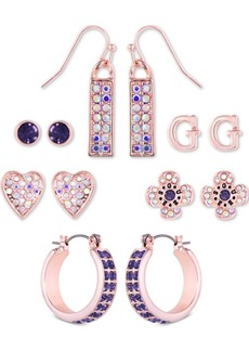 Guess Rose Gold-Tone 6-Pc. Set Crystal Earrings