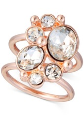 Guess Rose Gold-Tone Crystal Double-Band Ring