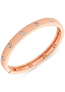 Guess Rose Gold-Tone Hinge Bracelet with Clear Stones