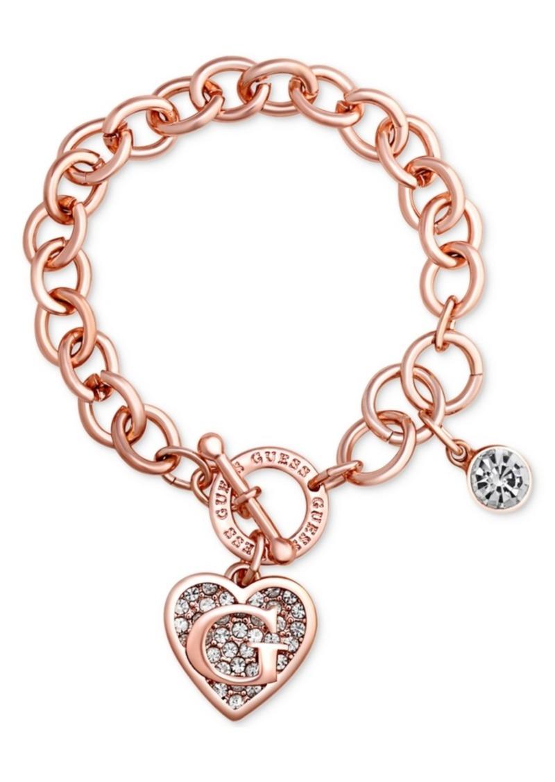 Guess Rose Gold-Tone Link Charm Bracelet