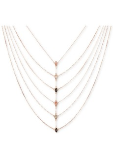 "Guess Rose Gold-Tone Multicolor Crystal Layered Statement Necklace, 18"" + 2"" extender"