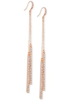 Guess Rose Gold-Tone Pave Bar Linear Drop Earrings