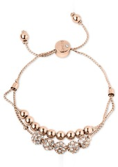 Guess Rose Gold-Tone Pave Beaded Double-Row Slider Bracelet