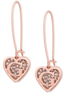 Guess Rose Gold-Tone Pave Heart Logo Drop Earrings