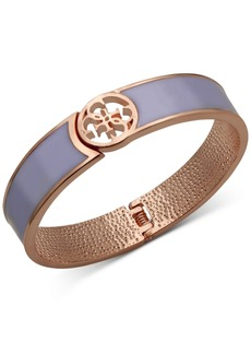 Guess Rose Gold-Tone Purple Hinge Bangle Bracelet