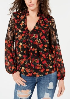 Guess Rose-Print Lace-Inset Peasant Top