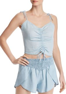 GUESS Ruched Drawstring Chambray Cropped Top