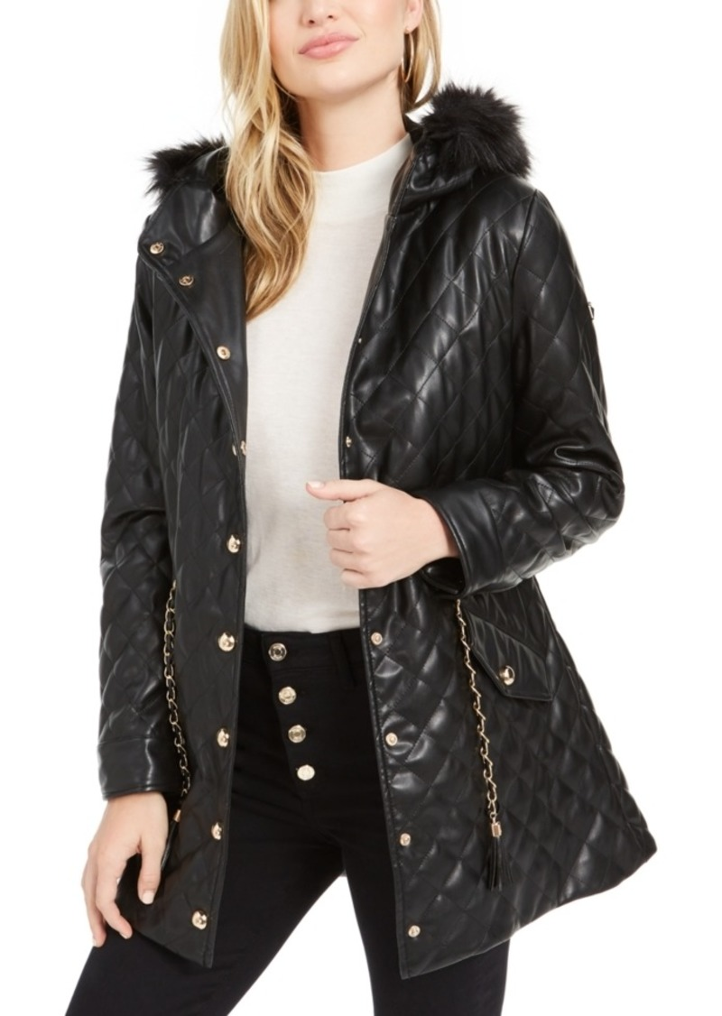 Guess Saira Quilted Faux-Fur Collar Jacket
